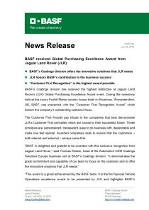 BASF received Global Purchasing Excellence Award from Jaguar Land Rover