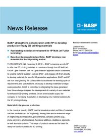 BASF strengthens collaboration with HP to develop production-ready 3D printing materials