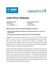 "Download Press Release ""BASF invests in carbon recycling company LanzaTech"""