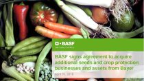BASF signs agreement to acquire additional seeds and crop protection businesses and assets from Bayer
