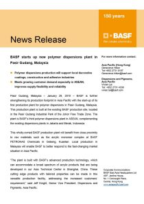 BASF starts up new polymer dispersions plant in Pasir Gudang, Malaysia