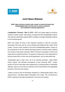 Joint News Release