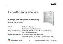 The Eco-Efficiency Analysis: Buying a new refrigerator or continuing to use the old one