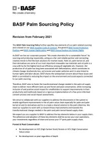 BASF Palm Sourcing Policy