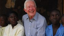 Former U.S. president Carter with teenagers