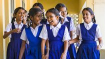 Close-up of female students at Shri Venkataramana Higher Primary School