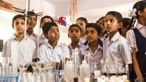 Students at water laboratories of Shri Venkataramana Higher Primary School