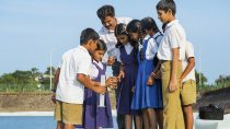 Water examining students from Shri Venkataramana Higher Primary School