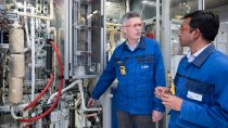 Aspects of the new CO2 emission-free methanol synthesis process were tested in a pilot plant at BASF's subsidiary hte GmbH in Heidelberg, Germany. Project manager Dr. Maximilian Vicari and hte expert Dr. Nakul Thakar are pleased to have solved challenges that arose during the activation of the catalyst and the operation of the plant.
