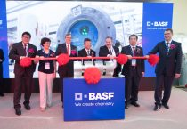 (First from left) Dr. Zheng Daqing, Senior Vice President, Business & Market Development Greater China, BASF, (Second from left) Zheng Wuhong, Chairman of China Cleaning Industry Aassociation, (third from left) Dr. Stephan Kothrade, President Functions Asia Pacific, President and Chairman Greater China, BASF, (in the middle) Zhang Quanquan, Deputy Director, Jinshan District Government, (third from right) Hans W. Reiners, President,Care Chemicals, BASF, (second from right) Chen Shaojun, Chairman of China Association of Fragrance Flavor and Cosmetic Industries and (first from right) Sergey Andreev, Senior Vice President, Care Chemicals Asia Pacific, BASF