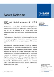 BASF India Limited announces Q1 2017-18 Results