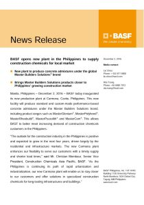 BASF opens new plant in the Philippines to supply construction