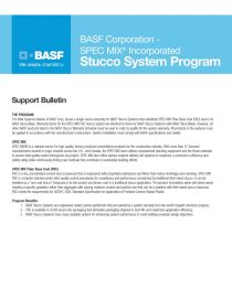 BASF and SPEC MIX Stucco System Program Support Bulletin