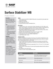 Surface Stabilizer WB Product Bulletin
