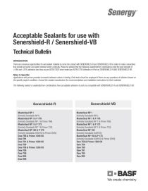 Acceptable Sealants for use with Senershield-R and Senershield-VB