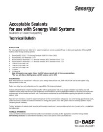 Acceptable Sealants to use with Senergy Wall Systems Technical Bulletin