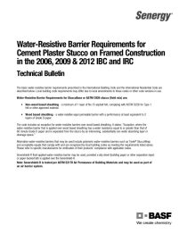 Water-Resistive Barrier Requirements for Cement Plaster Stucco Technical Bulletin