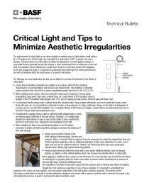 Critical Light and Tips to Minimize Aesthetic Irregularities Technical Bulletin