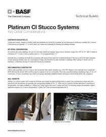 Platinum CI Stucco Systems' Key Detail Considerations Technical Bulletin
