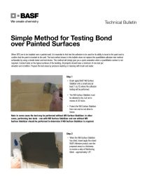 Simple Method for Testing Bond over Painted Surfaces Technical Bulletin