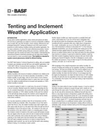 Tenting and Inclement Weather Application Technical Bulletin